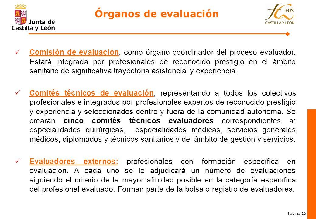 Página 15 Comisión de evaluación, como órgano coordinador del proceso evaluador. Estará integrada por profesionales de reconocido prestigio en el ámbi