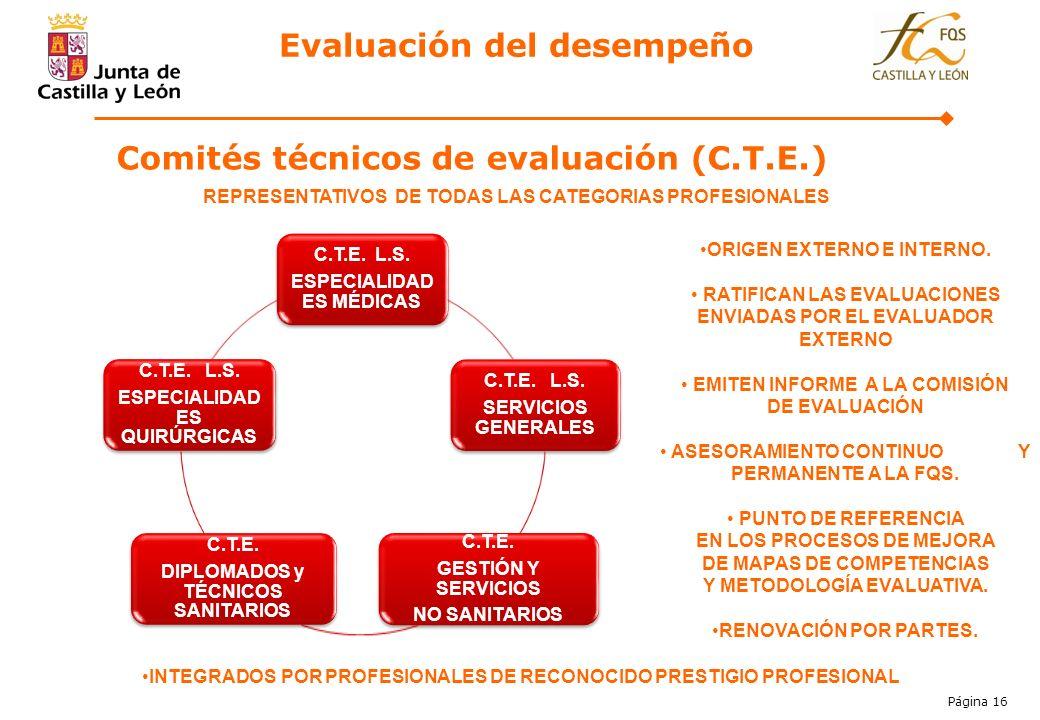 Página 16 REPRESENTATIVOS DE TODAS LAS CATEGORIAS PROFESIONALES C.T.E. L.S. ESPECIALIDAD ES MÉDICAS C.T.E. L.S. SERVICIOS GENERALES C.T.E. GESTIÓN Y S