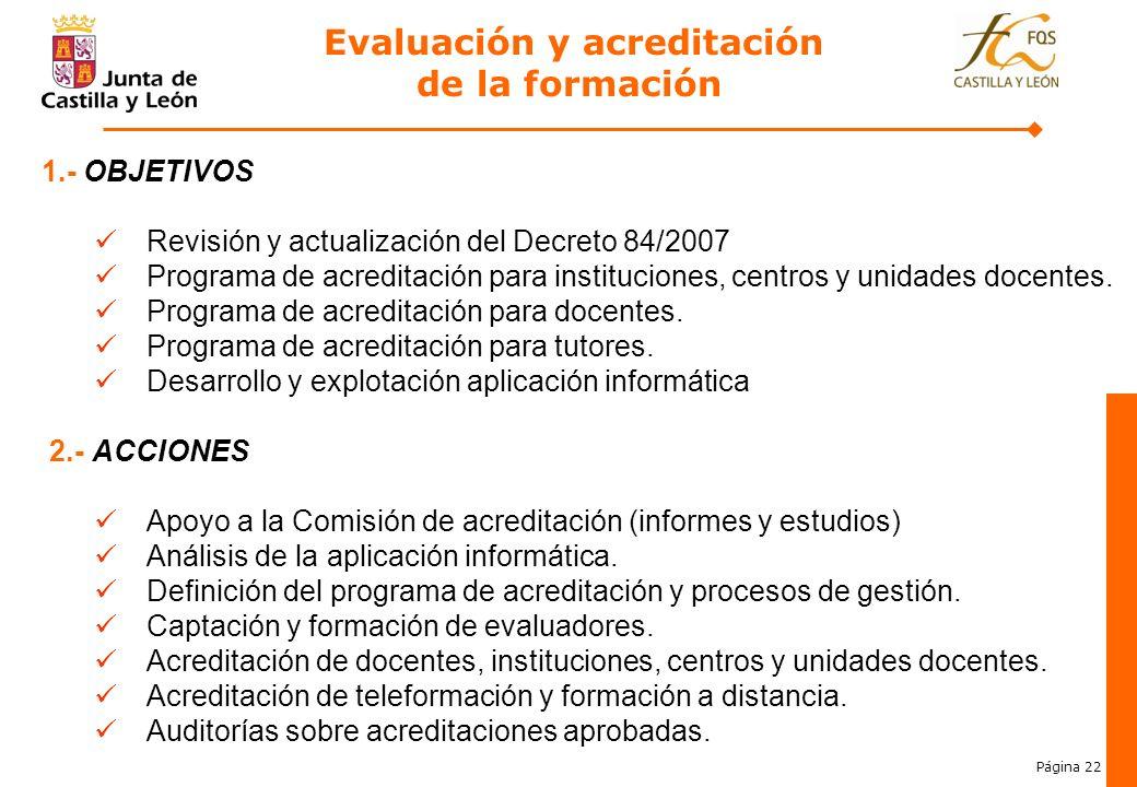 Página 22 Evaluación y acreditación de la formación 3. 1.- OBJETIVOS Revisión y actualización del Decreto 84/2007 Programa de acreditación para instit