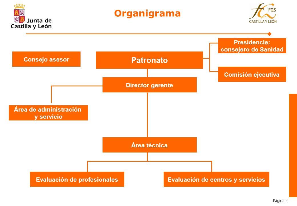 Página 4 Organigrama Patronato Director gerente Presidencia: consejero de Sanidad Comisión ejecutiva Consejo asesor Área de administración y servicio