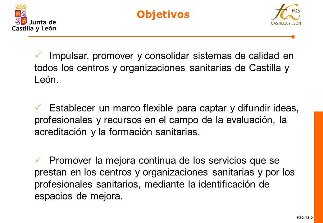 Página 5 Objetivos Impulsar, promover y consolidar sistemas de calidad en todos los centros y organizaciones sanitarias de Castilla y León. Establecer