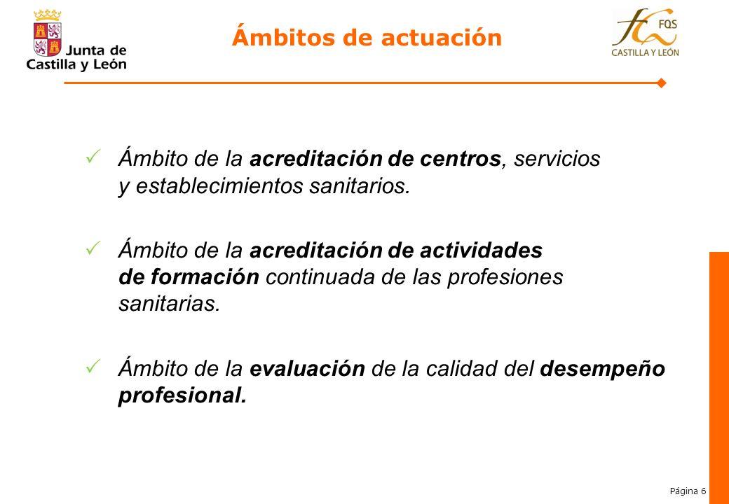 Página 6 Ámbitos de actuación Ámbito de la acreditación de centros, servicios y establecimientos sanitarios. Ámbito de la acreditación de actividades