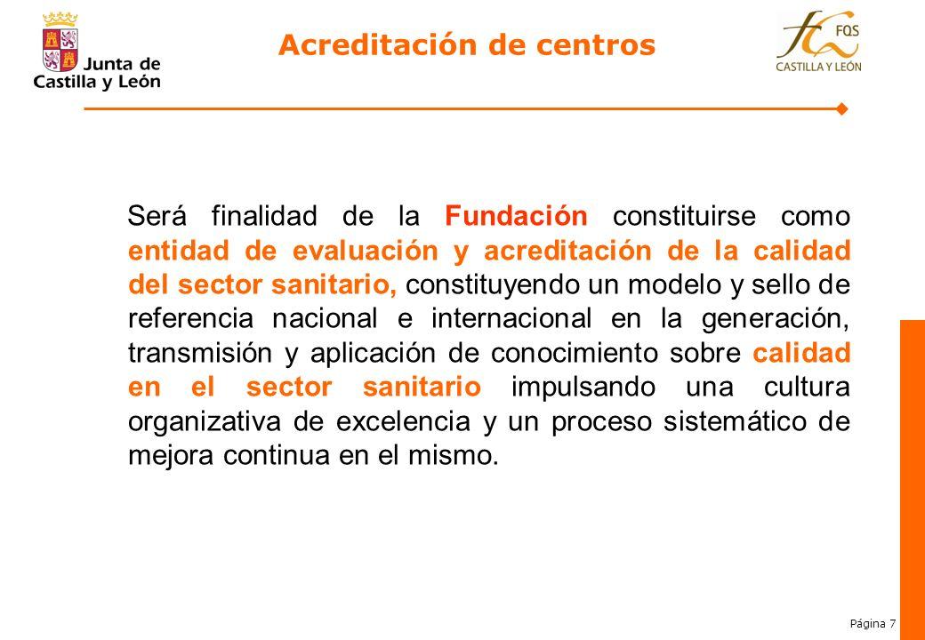 Página 7 Acreditación de centros Será finalidad de la Fundación constituirse como entidad de evaluación y acreditación de la calidad del sector sanita