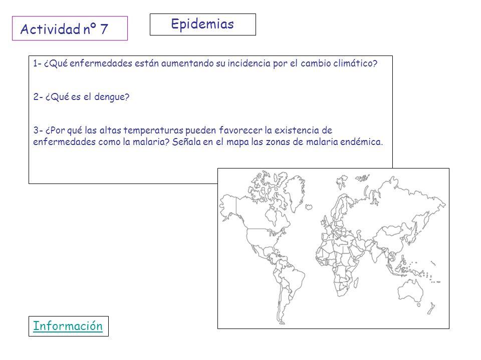 1- ¿Qué enfermedades están aumentando su incidencia por el cambio climático? 2- ¿Qué es el dengue? 3- ¿Por qué las altas temperaturas pueden favorecer