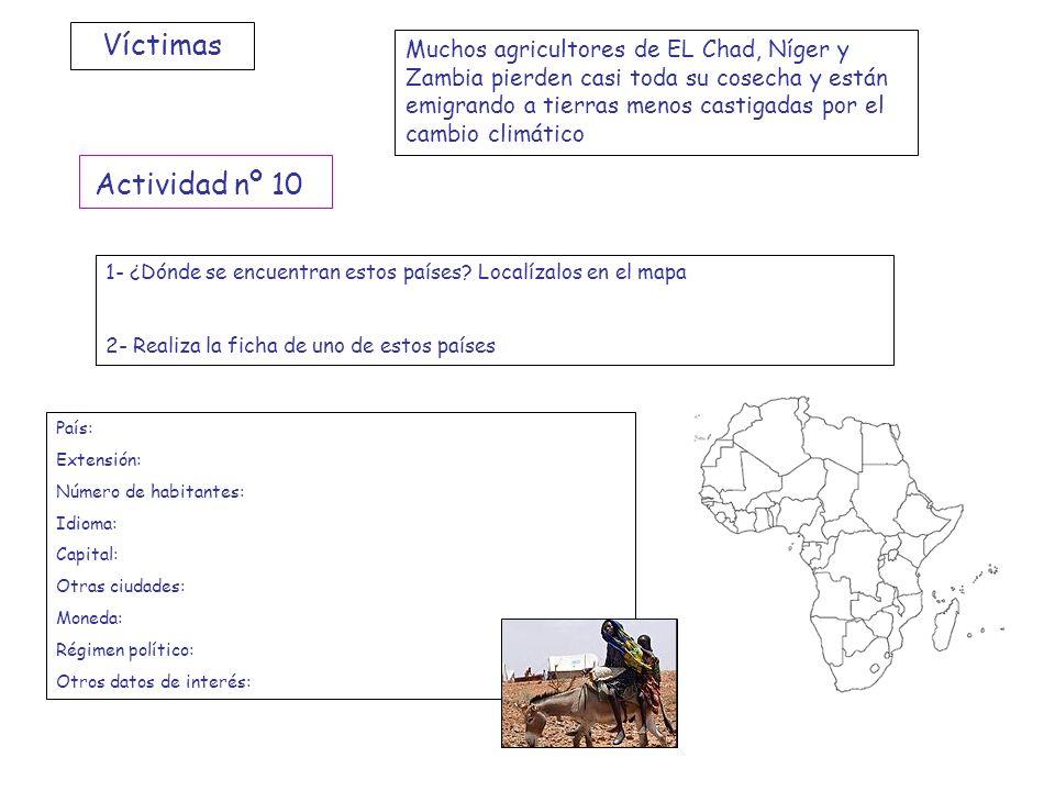 Víctimas Muchos agricultores de EL Chad, Níger y Zambia pierden casi toda su cosecha y están emigrando a tierras menos castigadas por el cambio climát