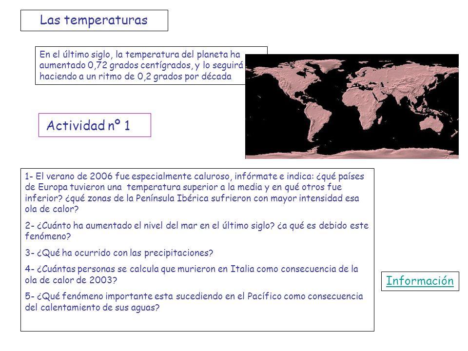 Las temperaturas En el último siglo, la temperatura del planeta ha aumentado 0,72 grados centígrados, y lo seguirá haciendo a un ritmo de 0,2 grados p