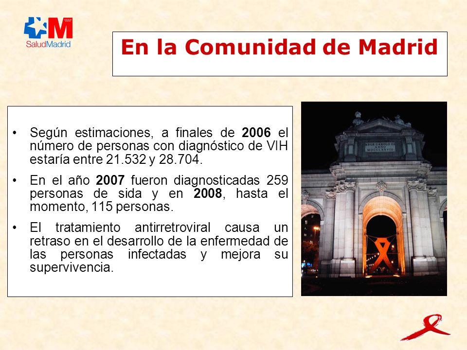 En la Comunidad de Madrid Según estimaciones, a finales de 2006 el número de personas con diagnóstico de VIH estaría entre 21.532 y 28.704.