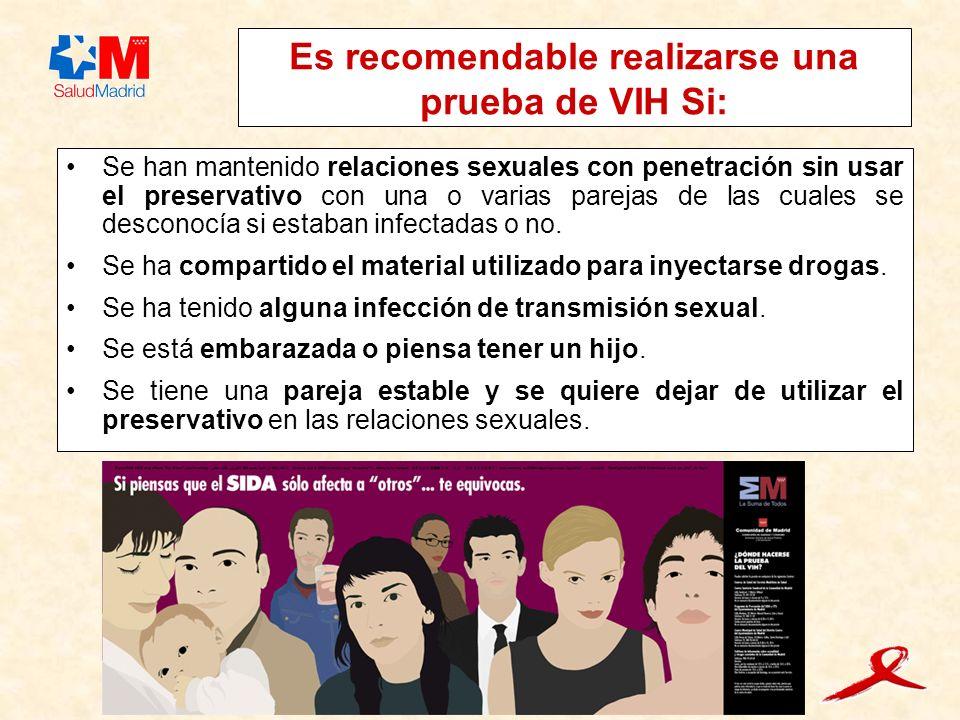 Es recomendable realizarse una prueba de VIH Si: Se han mantenido relaciones sexuales con penetración sin usar el preservativo con una o varias parejas de las cuales se desconocía si estaban infectadas o no.