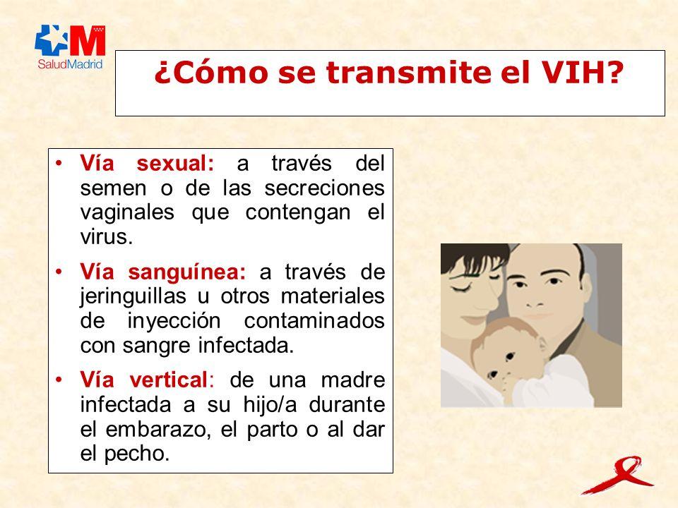 ¿Cómo se transmite el VIH? Vía sexual: a través del semen o de las secreciones vaginales que contengan el virus. Vía sanguínea: a través de jeringuill