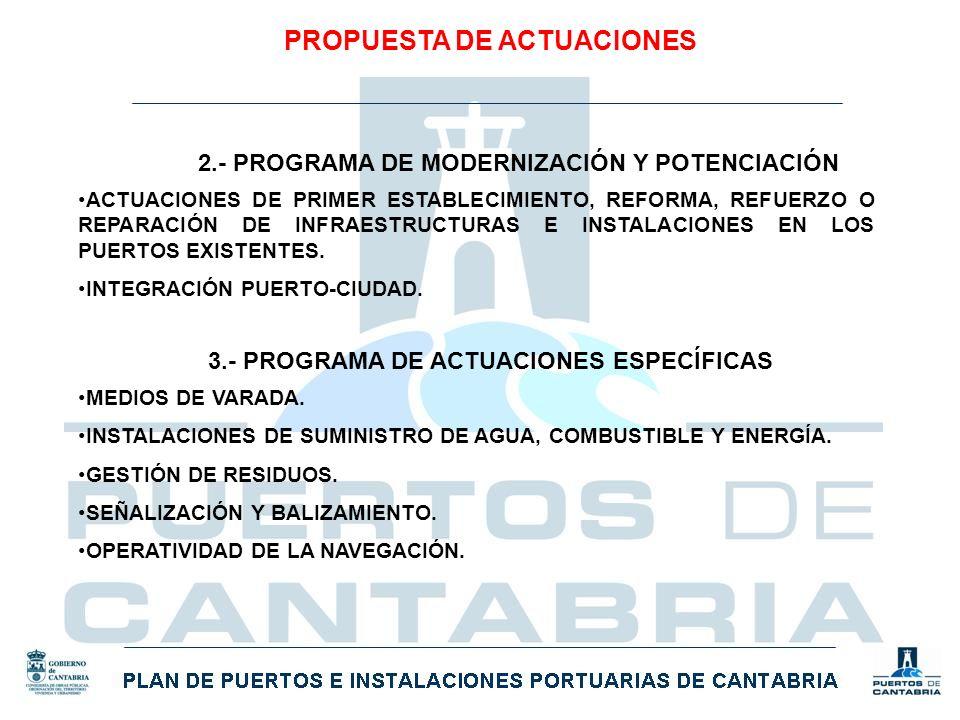 PROPUESTA DE ACTUACIONES 2.- PROGRAMA DE MODERNIZACIÓN Y POTENCIACIÓN ACTUACIONES DE PRIMER ESTABLECIMIENTO, REFORMA, REFUERZO O REPARACIÓN DE INFRAES
