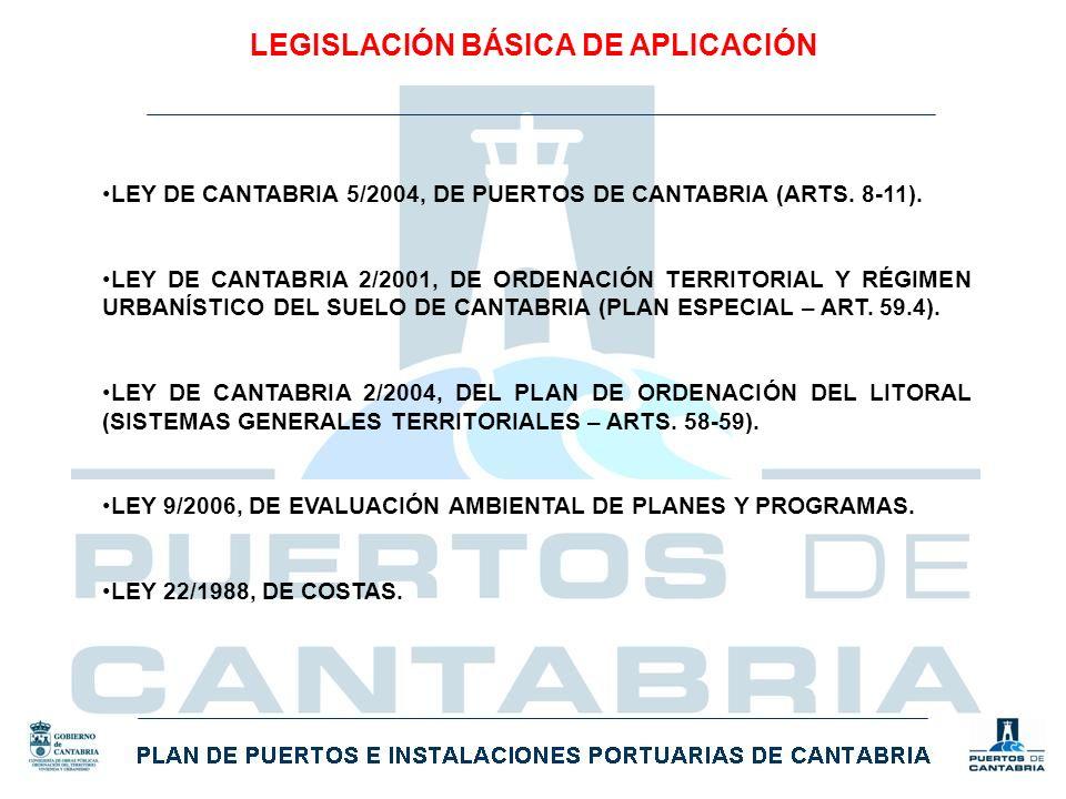 LEGISLACIÓN BÁSICA DE APLICACIÓN LEY DE CANTABRIA 5/2004, DE PUERTOS DE CANTABRIA (ARTS. 8-11). LEY DE CANTABRIA 2/2001, DE ORDENACIÓN TERRITORIAL Y R