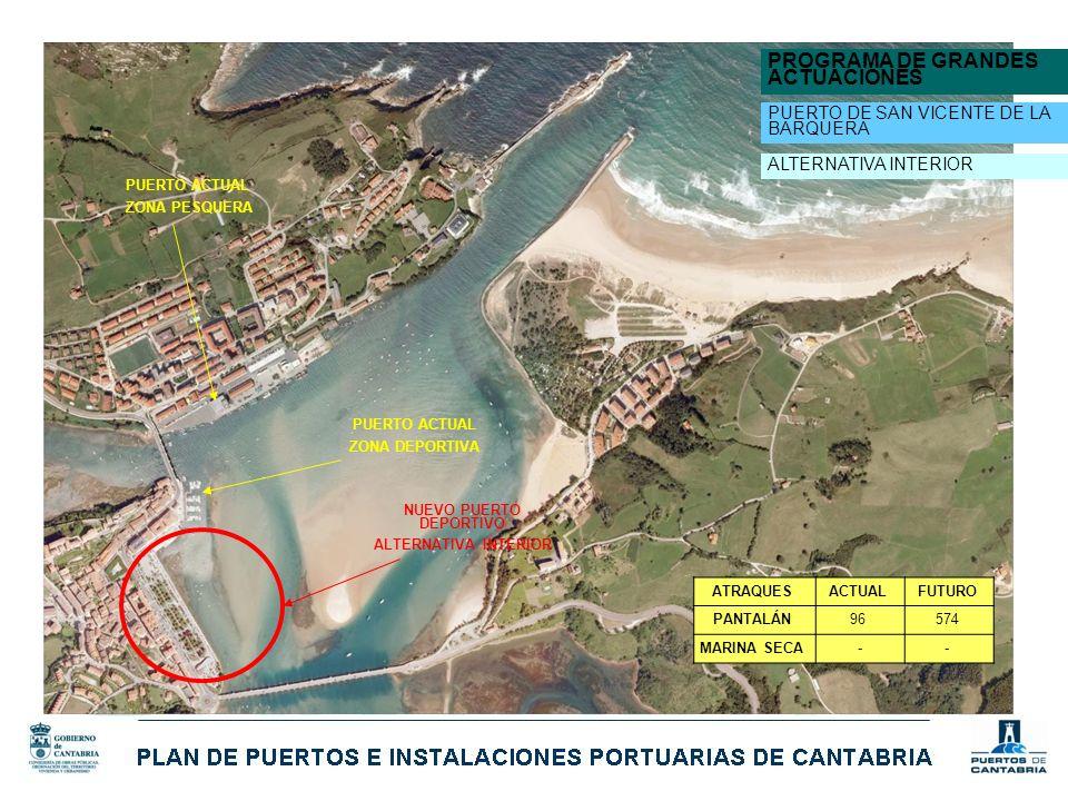 PROGRAMA DE GRANDES ACTUACIONES PUERTO DE SAN VICENTE DE LA BARQUERA NUEVO PUERTO DEPORTIVO ALTERNATIVA INTERIOR PUERTO ACTUAL ZONA DEPORTIVA PUERTO A