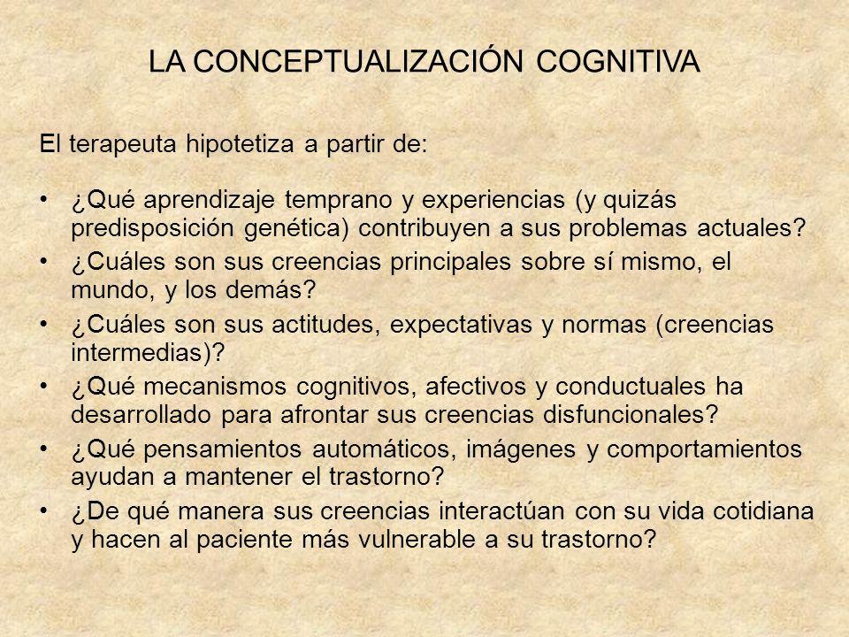 LA CONCEPTUALIZACIÓN COGNITIVA El terapeuta hipotetiza a partir de: ¿Qué aprendizaje temprano y experiencias (y quizás predisposición genética) contribuyen a sus problemas actuales.