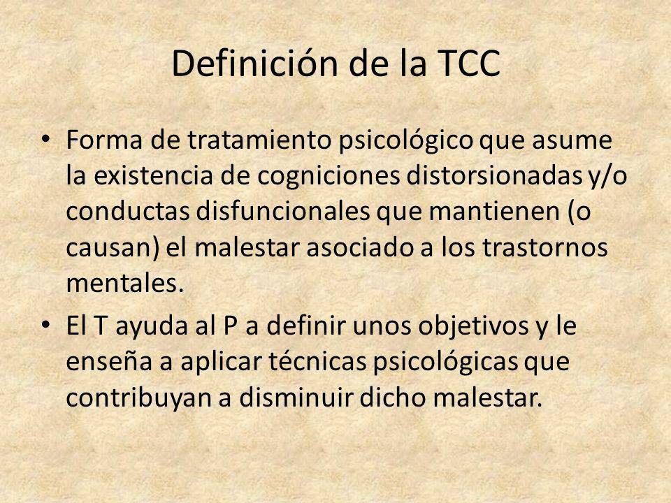 Definición de la TCC Forma de tratamiento psicológico que asume la existencia de cogniciones distorsionadas y/o conductas disfuncionales que mantienen (o causan) el malestar asociado a los trastornos mentales.