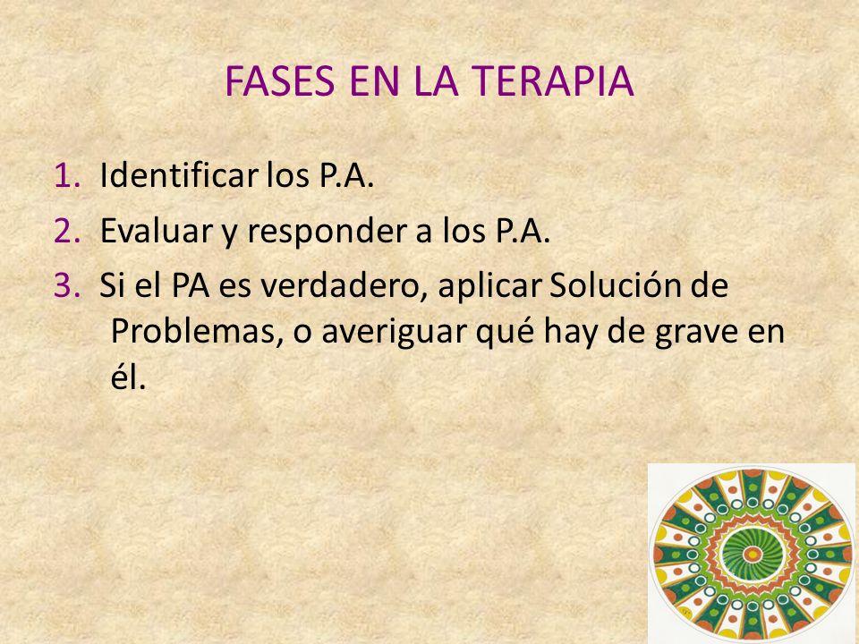 FASES EN LA TERAPIA 1.Identificar los P.A. 2. Evaluar y responder a los P.A.