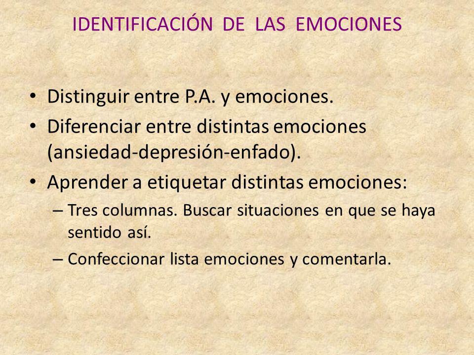 IDENTIFICACIÓN DE LAS EMOCIONES Distinguir entre P.A.