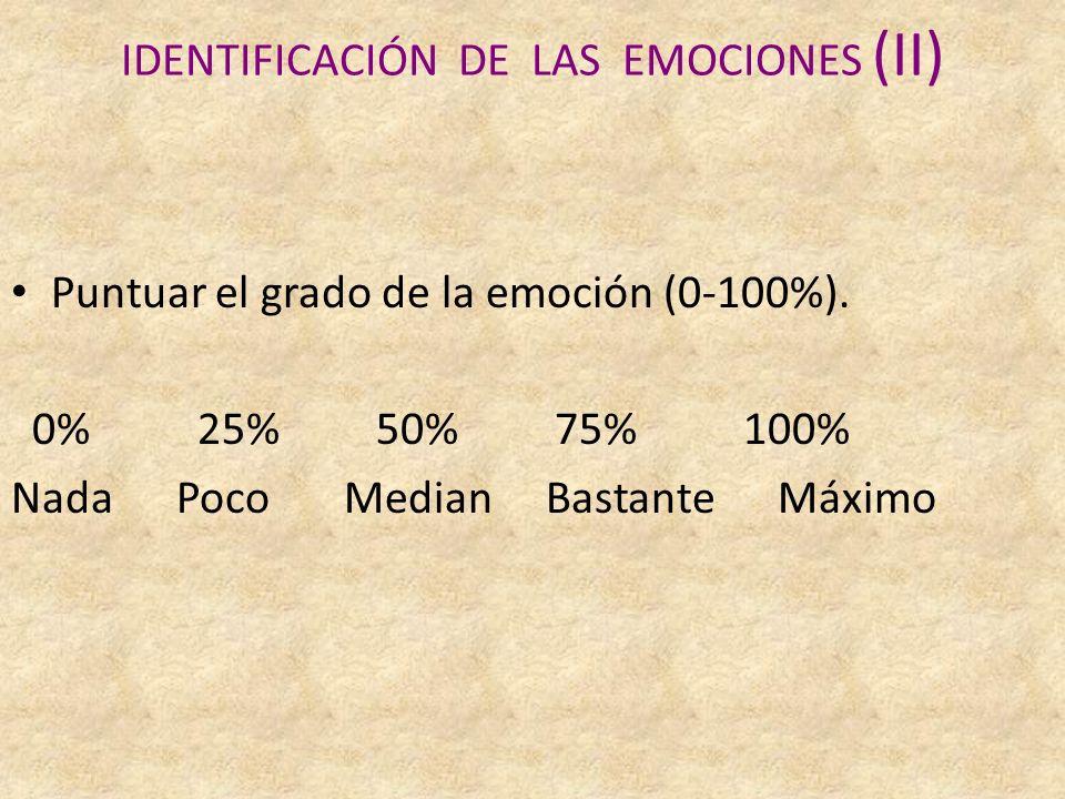 IDENTIFICACIÓN DE LAS EMOCIONES (II) Puntuar el grado de la emoción (0-100%).