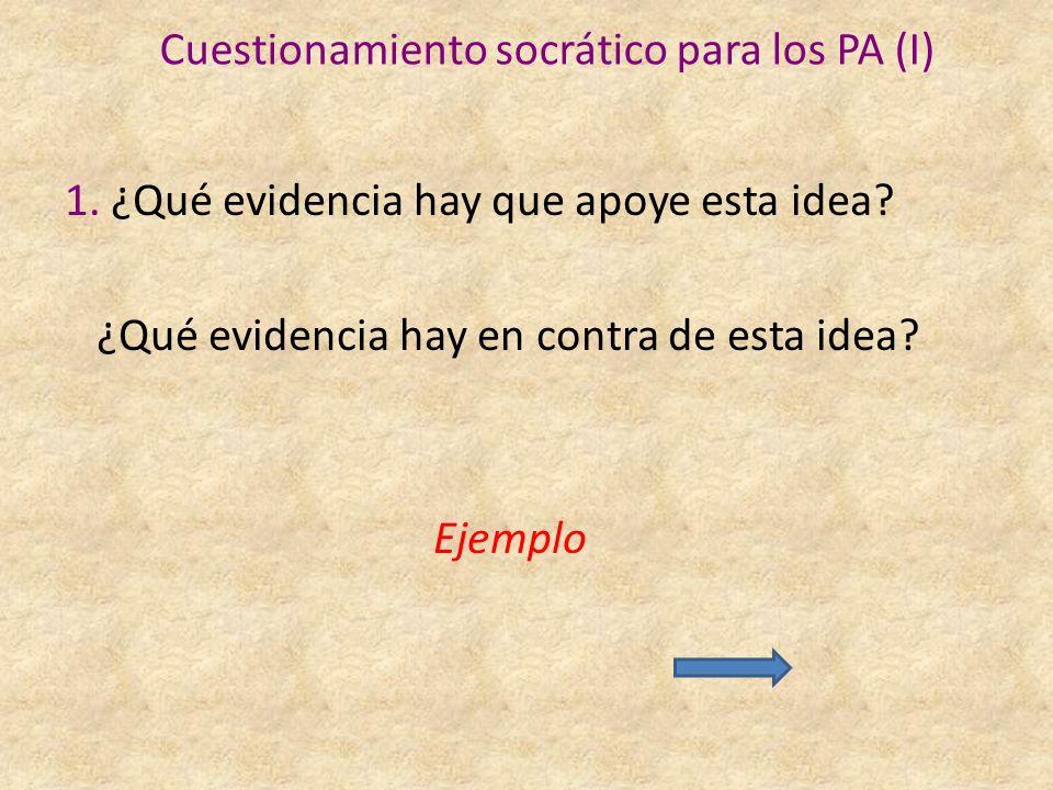 Cuestionamiento socrático para los PA (I) 1.¿Qué evidencia hay que apoye esta idea.