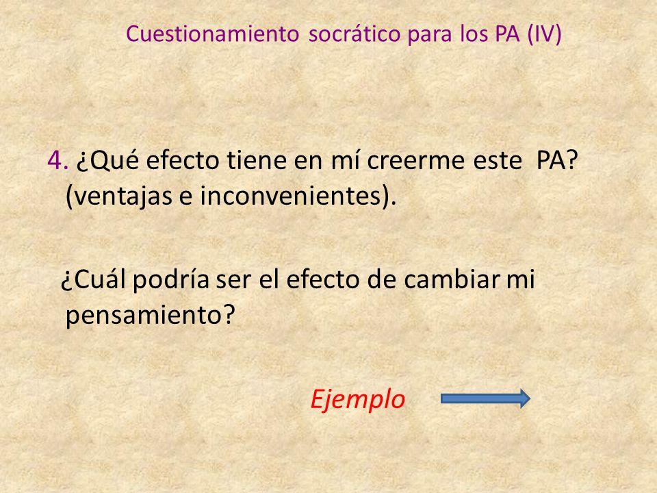 Cuestionamiento socrático para los PA (IV) 4.¿Qué efecto tiene en mí creerme este PA.