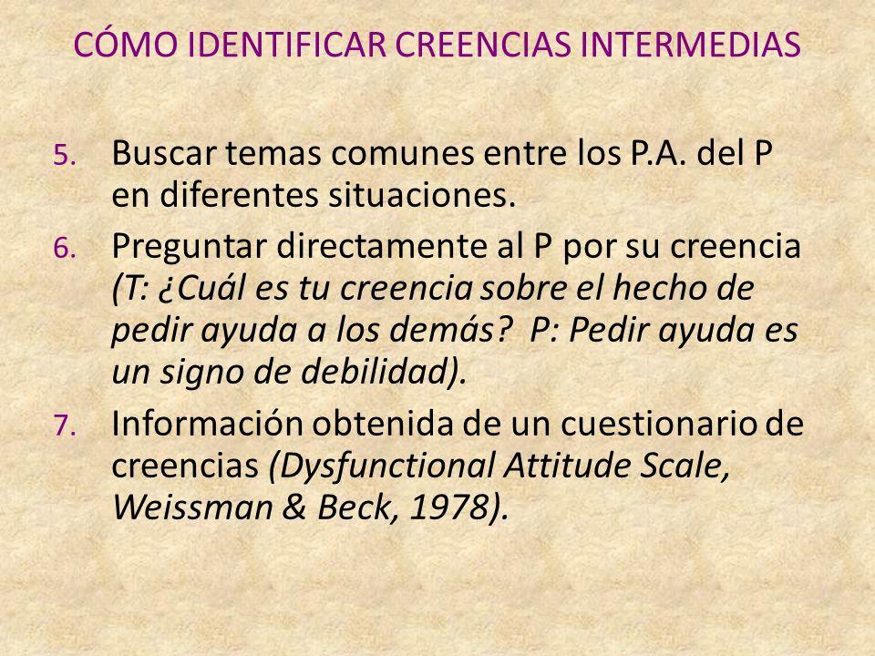 CÓMO IDENTIFICAR CREENCIAS INTERMEDIAS 5.Buscar temas comunes entre los P.A.