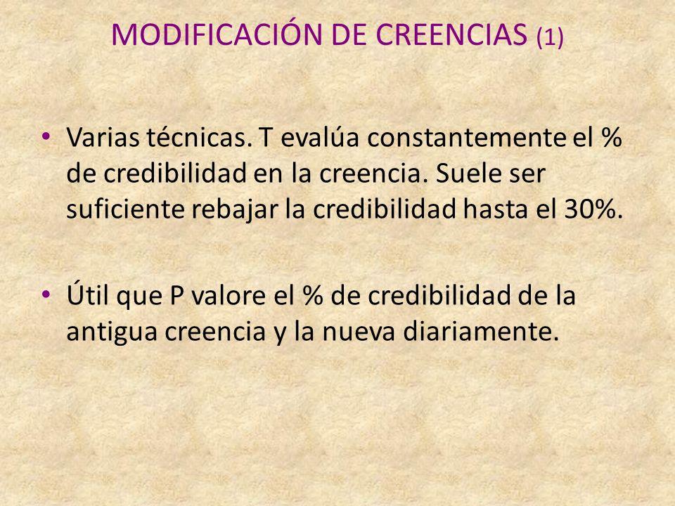 MODIFICACIÓN DE CREENCIAS (1) Varias técnicas.