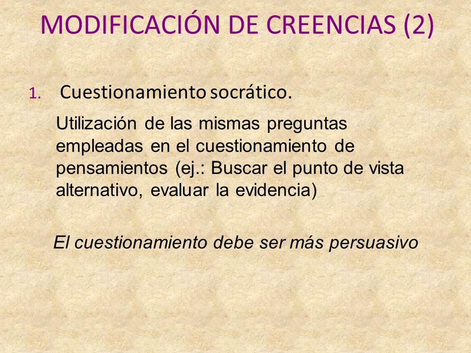 MODIFICACIÓN DE CREENCIAS (2) 1.Cuestionamiento socrático.