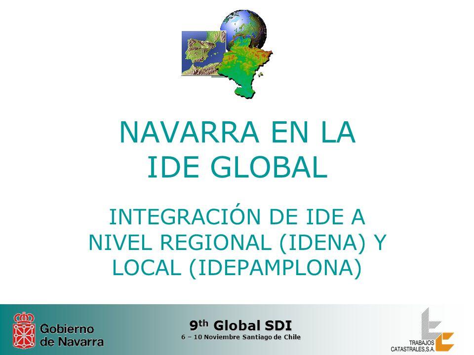 9 th Global SDI 6 – 10 Noviembre Santiago de Chile NAVARRA EN LA IDE GLOBAL INTEGRACIÓN DE IDE A NIVEL REGIONAL (IDENA) Y LOCAL (IDEPAMPLONA)