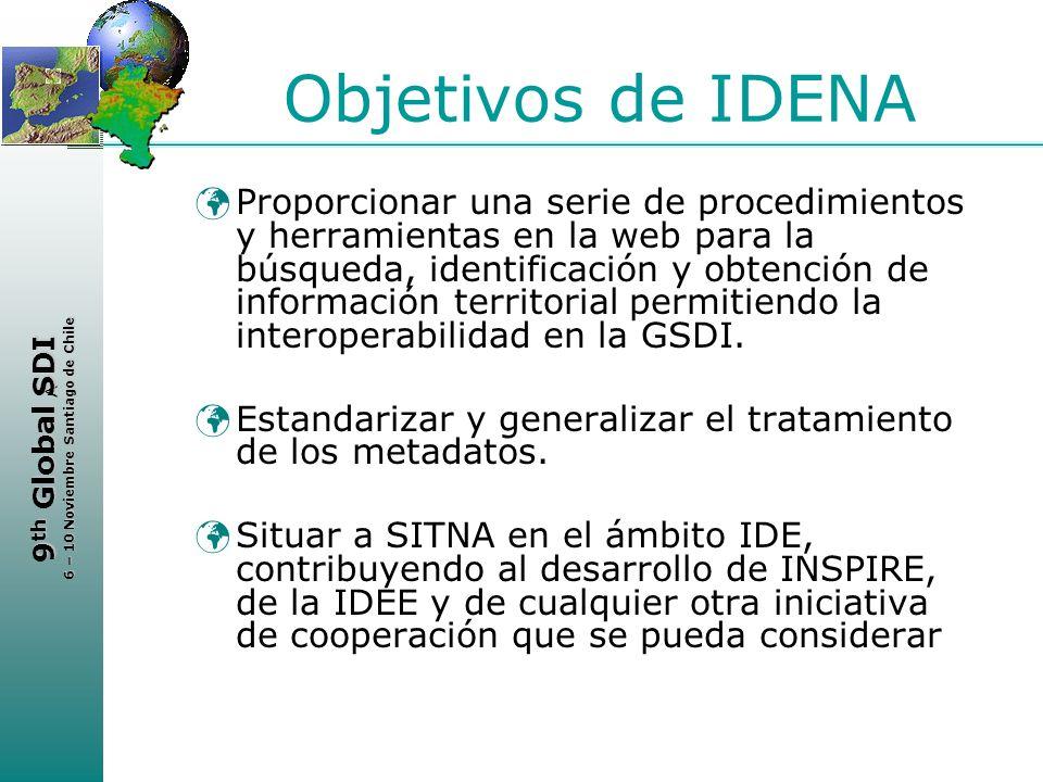 < 9 th Global SDI 6 – 10 Noviembre Santiago de Chile Objetivos de IDENA Proporcionar una serie de procedimientos y herramientas en la web para la búsq