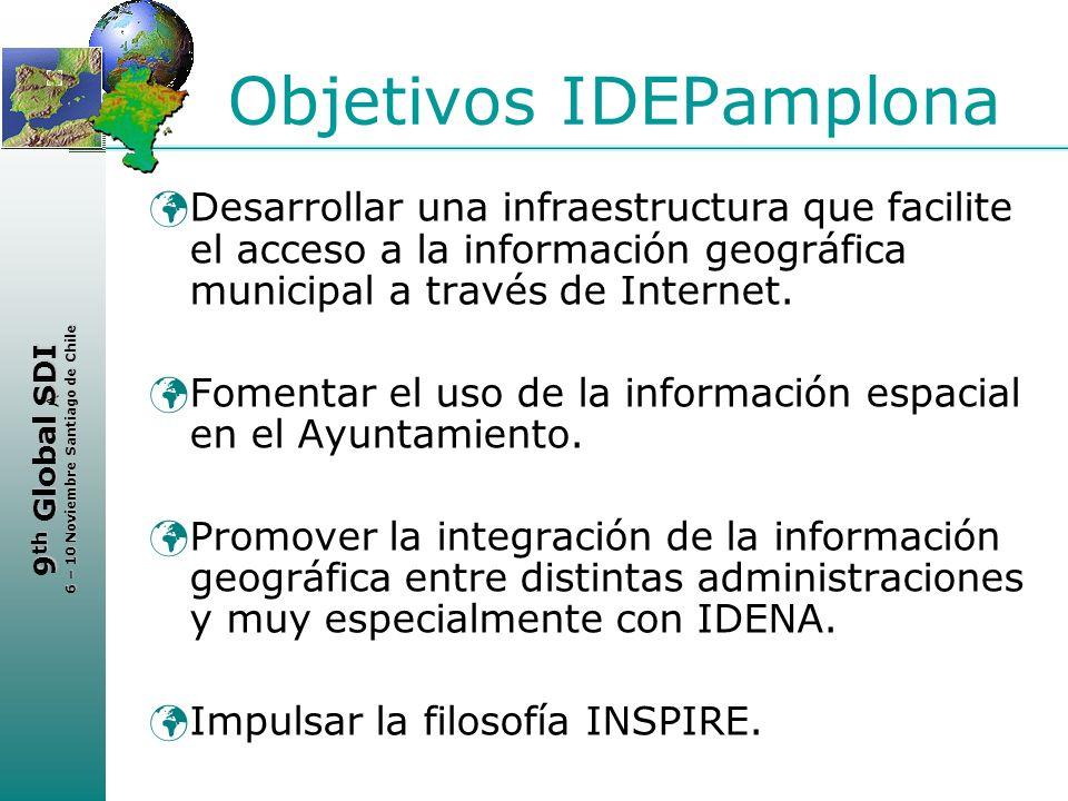 < 9 th Global SDI 6 – 10 Noviembre Santiago de Chile Objetivos IDEPamplona Desarrollar una infraestructura que facilite el acceso a la información geo