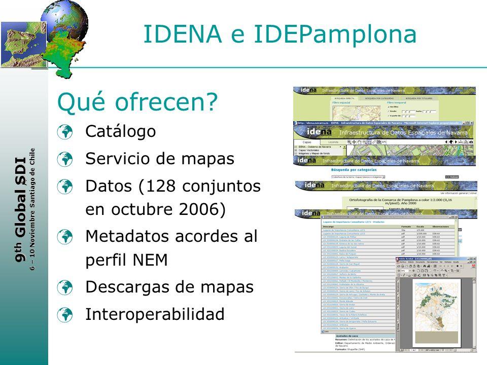 < 9 th Global SDI 6 – 10 Noviembre Santiago de Chile IDENA e IDEPamplona Qué ofrecen? Catálogo Servicio de mapas Datos (128 conjuntos en octubre 2006)