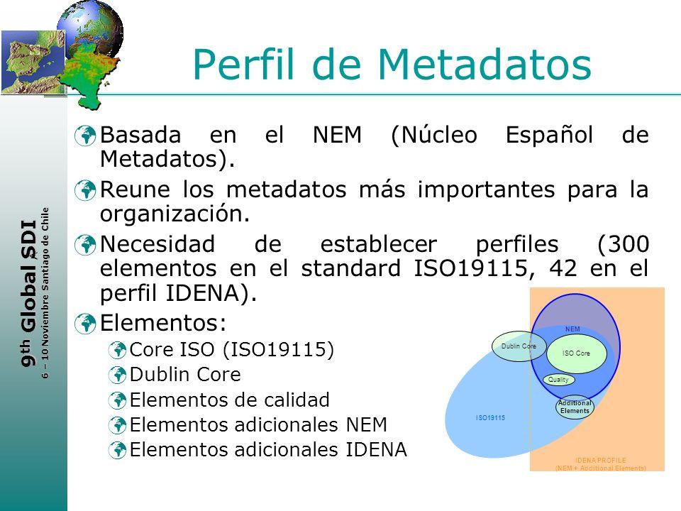 < 9 th Global SDI 6 – 10 Noviembre Santiago de Chile Perfil de Metadatos Basada en el NEM (Núcleo Español de Metadatos). Reune los metadatos más impor