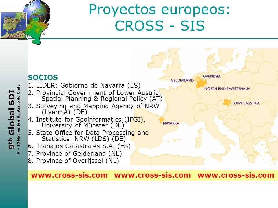 < 9 th Global SDI 6 – 10 Noviembre Santiago de Chile Proyectos europeos: CROSS - SIS SOCIOS 1. LIDER: Gobierno de Navarra (ES) 2. Provincial Governmen