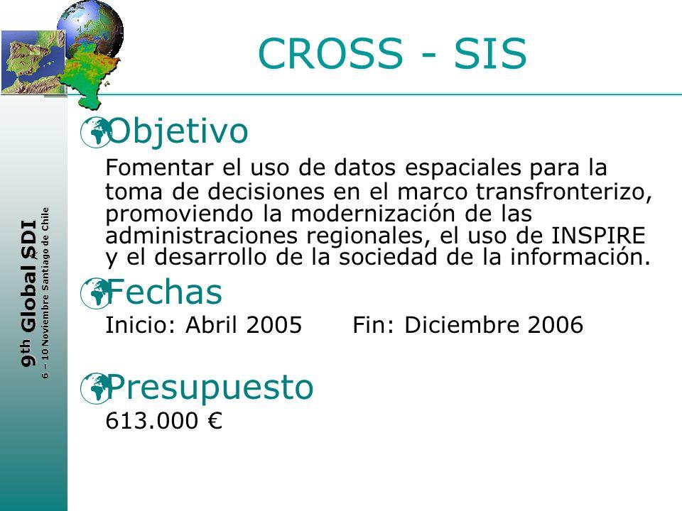 < 9 th Global SDI 6 – 10 Noviembre Santiago de Chile CROSS - SIS Objetivo Fomentar el uso de datos espaciales para la toma de decisiones en el marco t