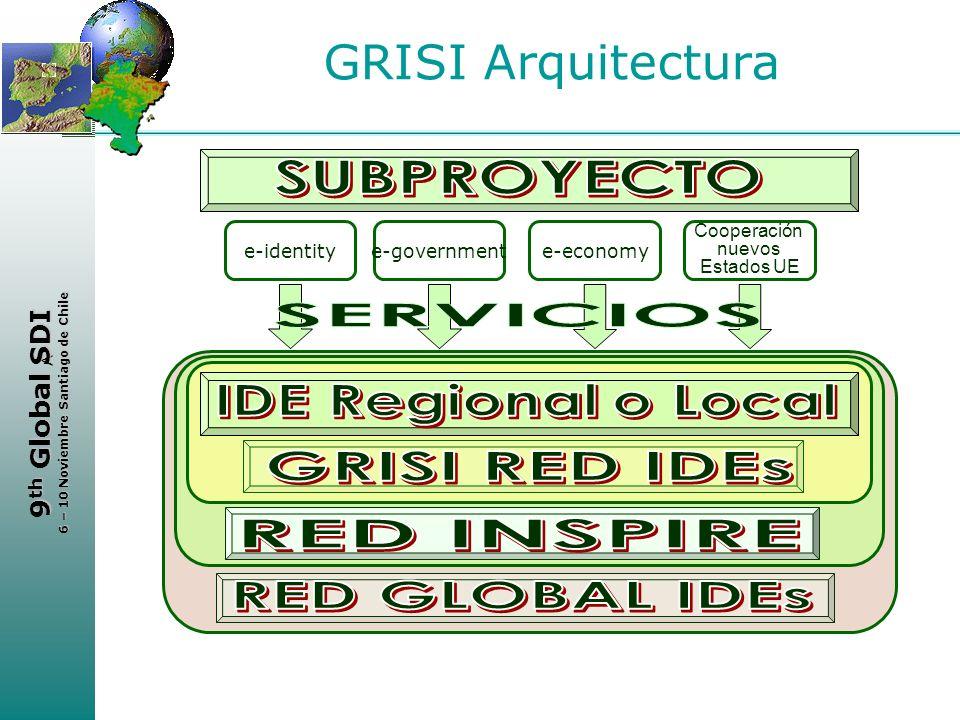 < 9 th Global SDI 6 – 10 Noviembre Santiago de Chile GRISI Arquitectura e-identitye-governmente-economy Cooperación nuevos Estados UE
