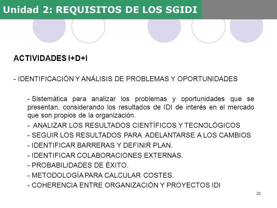 ACTIVIDADES I+D+I - IDENTIFICACIÓN Y ANÁLISIS DE PROBLEMAS Y OPORTUNIDADES - Sistemática para analizar los problemas y oportunidades que se presentan,