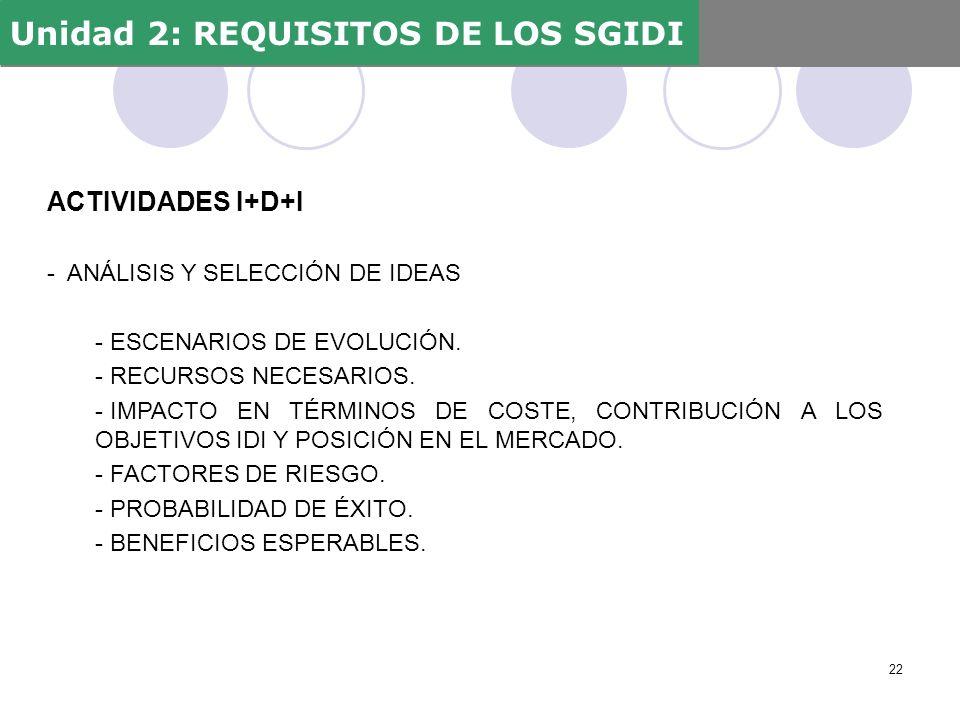 ACTIVIDADES I+D+I - ANÁLISIS Y SELECCIÓN DE IDEAS - ESCENARIOS DE EVOLUCIÓN. - RECURSOS NECESARIOS. - IMPACTO EN TÉRMINOS DE COSTE, CONTRIBUCIÓN A LOS