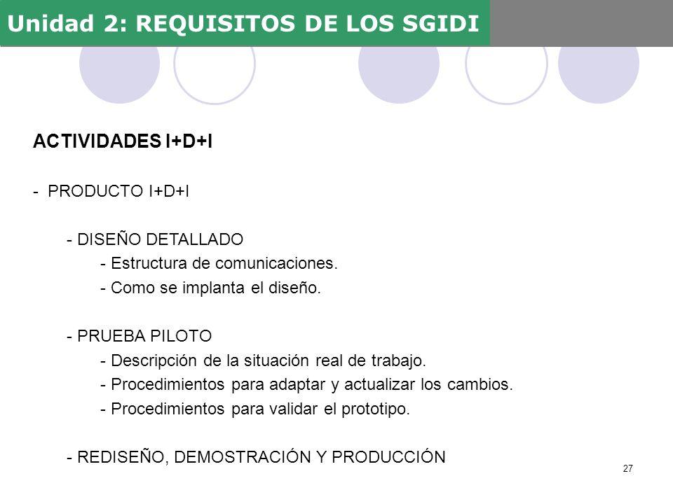 ACTIVIDADES I+D+I - PRODUCTO I+D+I - DISEÑO DETALLADO - Estructura de comunicaciones. - Como se implanta el diseño. - PRUEBA PILOTO - Descripción de l