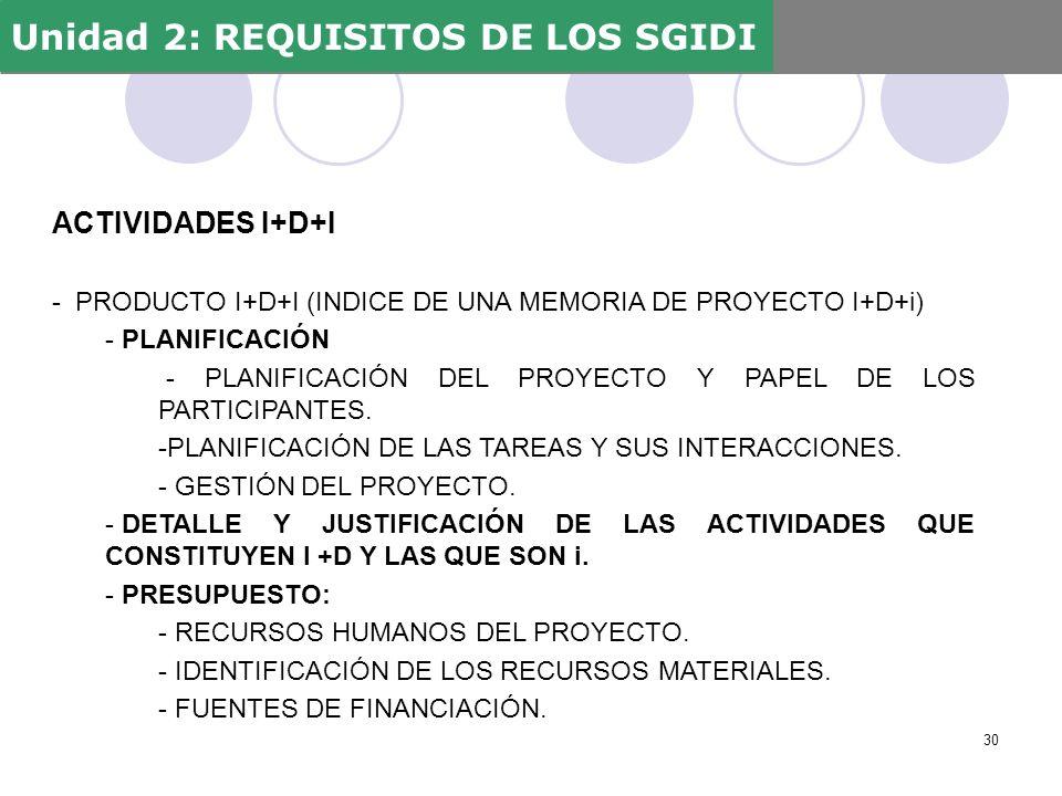 ACTIVIDADES I+D+I - PRODUCTO I+D+I (INDICE DE UNA MEMORIA DE PROYECTO I+D+i) - PLANIFICACIÓN - PLANIFICACIÓN DEL PROYECTO Y PAPEL DE LOS PARTICIPANTES