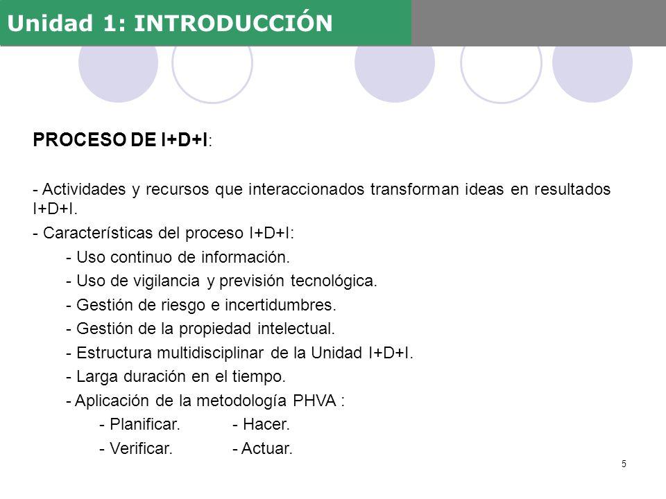 PROCESO DE I+D+I : - Actividades y recursos que interaccionados transforman ideas en resultados I+D+I. - Características del proceso I+D+I: - Uso cont