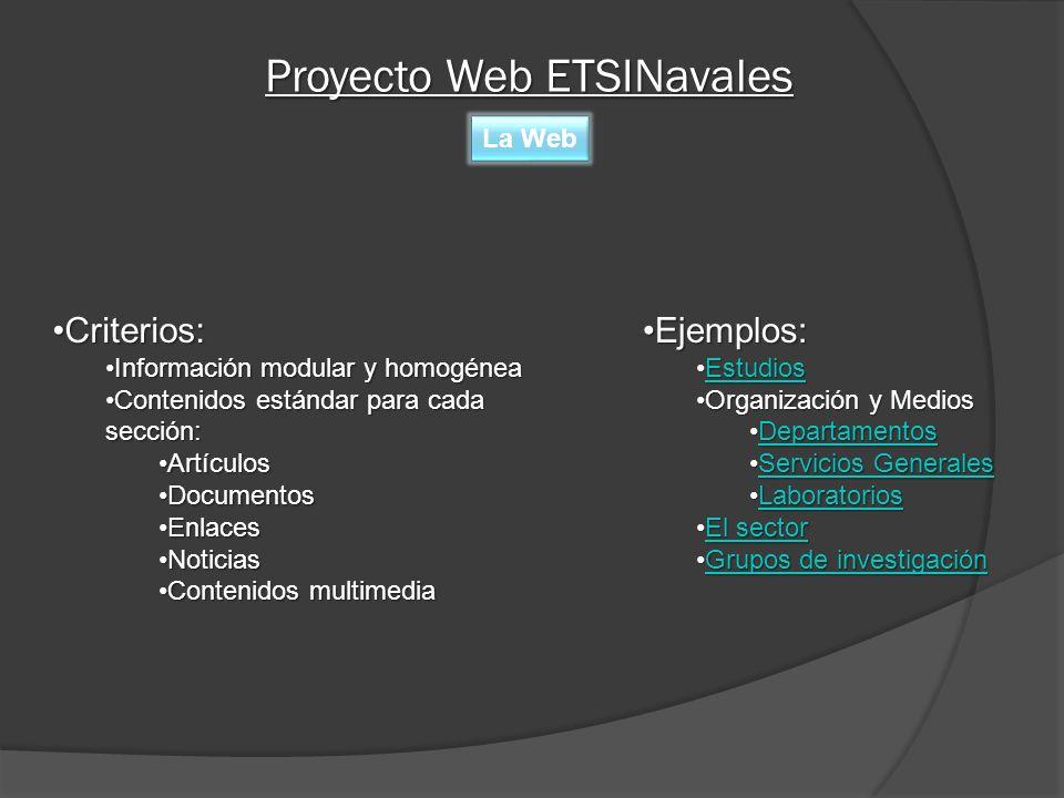 Proyecto Web ETSINavales Elementos Cabecera Enlace UPM Enlace Home ETSIN Enlaces Perfiles Presentación Flash Destacados del Home Enlaces Artículos del Home