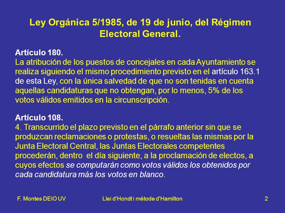 F. Montes DEIO UVLlei d'Hondt i mètode d'Hamilton2 Ley Orgánica 5/1985, de 19 de junio, del Régimen Electoral General. Artículo 180. La atribución de