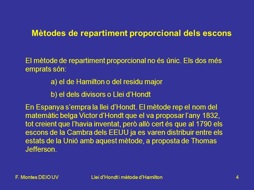 F. Montes DEIO UVLlei d'Hondt i mètode d'Hamilton4 El mètode de repartiment proporcional no és únic. Els dos més emprats són: a) el de Hamilton o del