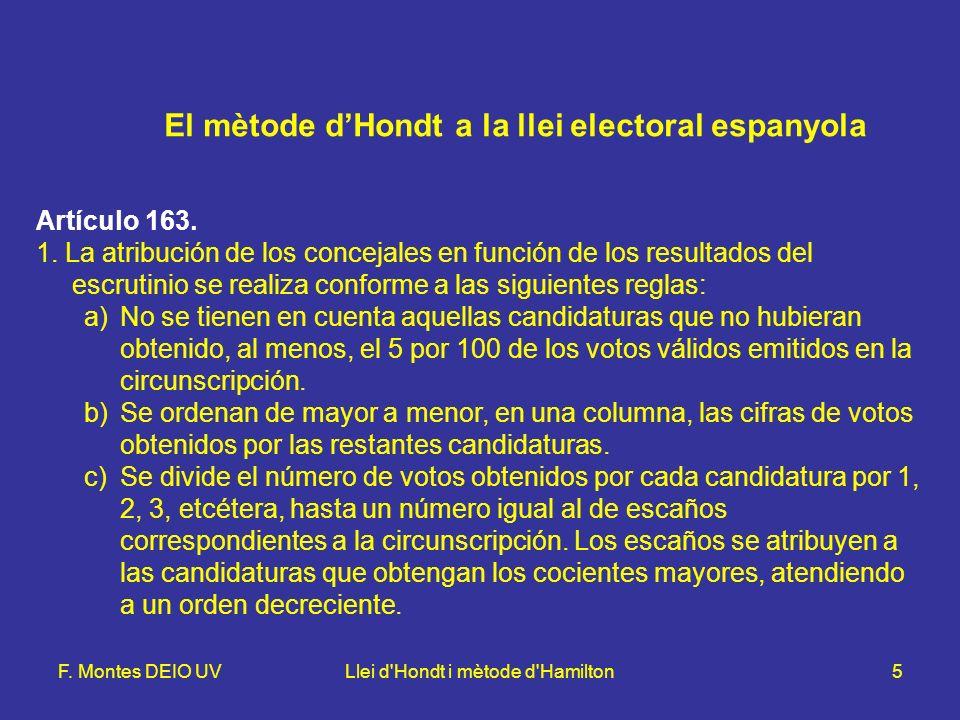 F. Montes DEIO UVLlei d'Hondt i mètode d'Hamilton5 El mètode dHondt a la llei electoral espanyola Artículo 163. 1. La atribución de los concejales en