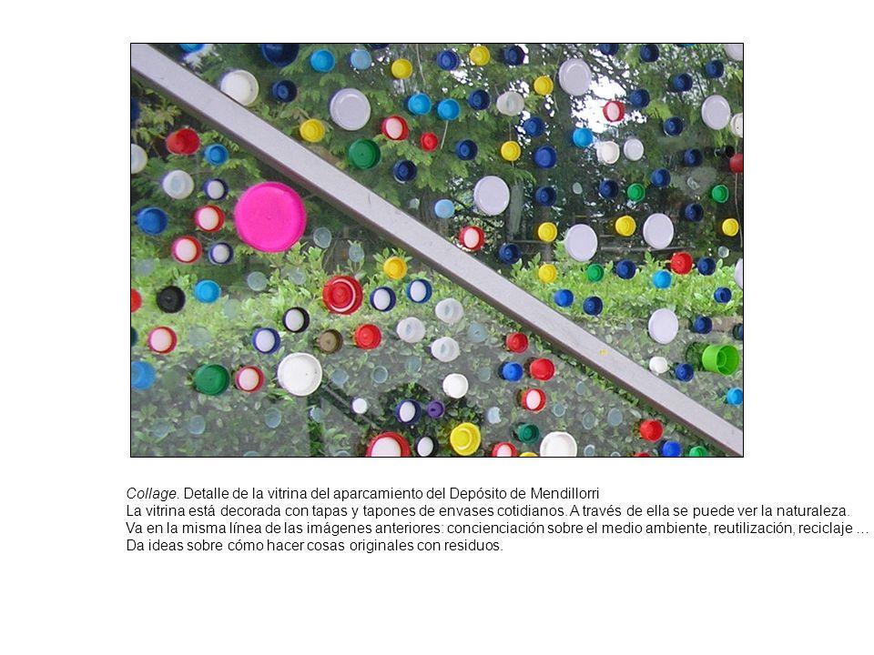 Collage. Detalle de la vitrina del aparcamiento del Depósito de Mendillorri La vitrina está decorada con tapas y tapones de envases cotidianos. A trav