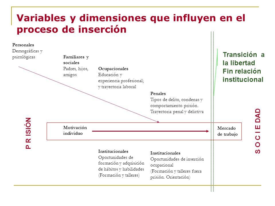Variables y dimensiones que influyen en el proceso de inserción Personales Demográficas y psicològicasFamiliares y sociales Padres, hijos, amigos Ocup