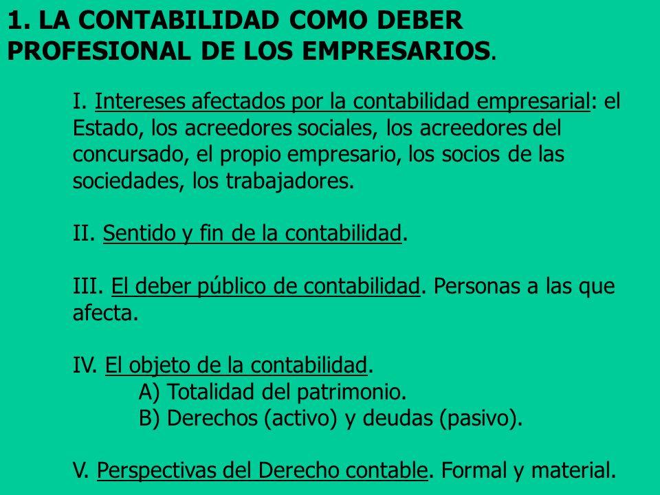1. LA CONTABILIDAD COMO DEBER PROFESIONAL DE LOS EMPRESARIOS. I. Intereses afectados por la contabilidad empresarial: el Estado, los acreedores social