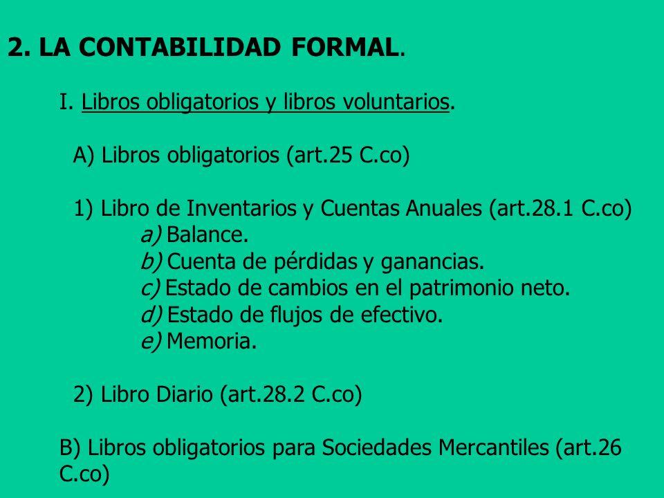 2. LA CONTABILIDAD FORMAL. I. Libros obligatorios y libros voluntarios. A) Libros obligatorios (art.25 C.co) 1) Libro de Inventarios y Cuentas Anuales