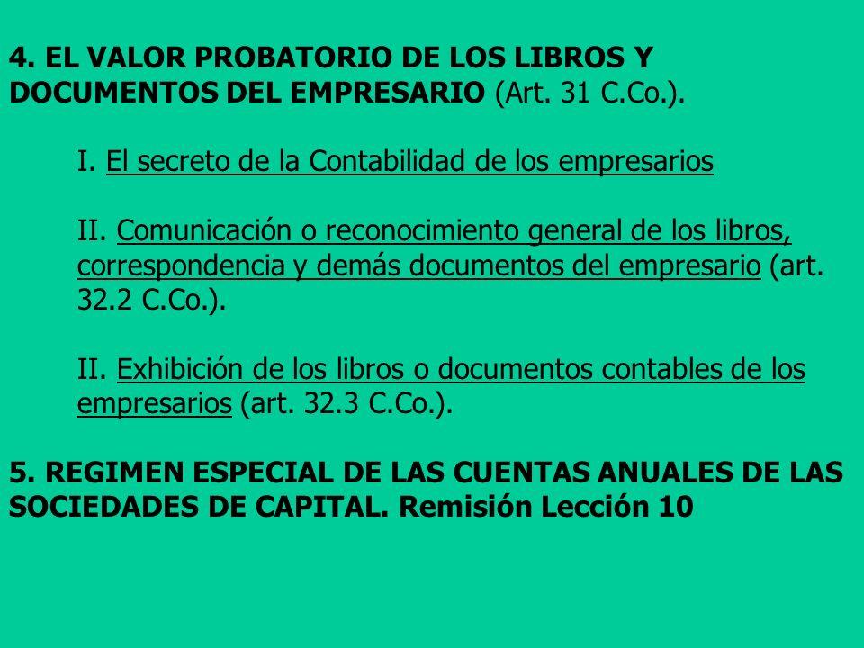 4. EL VALOR PROBATORIO DE LOS LIBROS Y DOCUMENTOS DEL EMPRESARIO (Art. 31 C.Co.). I. El secreto de la Contabilidad de los empresarios II. Comunicación