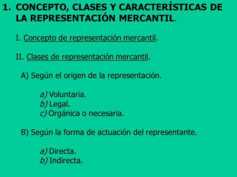 1.CONCEPTO, CLASES Y CARACTERÍSTICAS DE LA REPRESENTACIÓN MERCANTIL. I. Concepto de representación mercantil. II. Clases de representación mercantil.