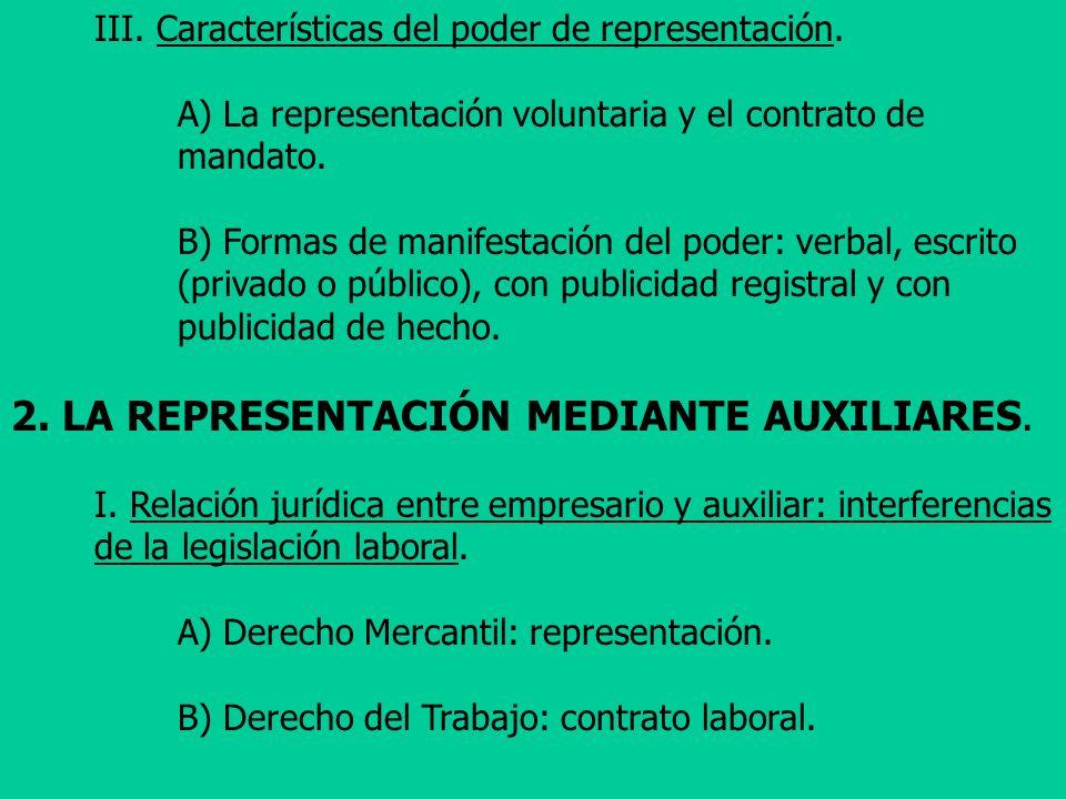 III. Características del poder de representación. A) La representación voluntaria y el contrato de mandato. B) Formas de manifestación del poder: verb